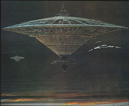 Ralph McQuarrie production painting of a basestar